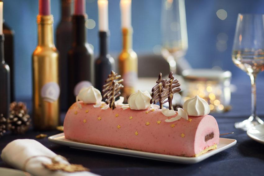 Bûche de Noël framboise ganache chocolat